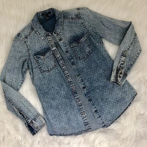 F21 Printed Chambray Button Down {S1}
